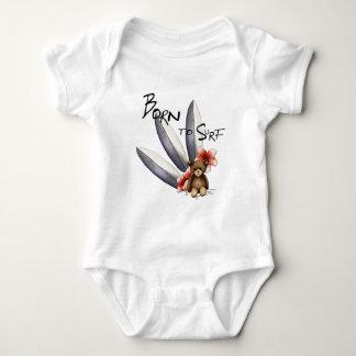 """Body weißes Baby """"Born to surf"""", Teddy und Blumen Baby Strampler"""