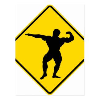 """Bodybuilder 1"" Entwurf Postkarte"