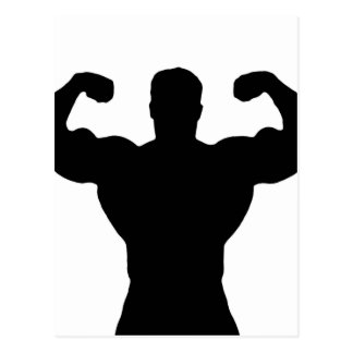 Bodybuilder, der Muskeln biegt Postkarte