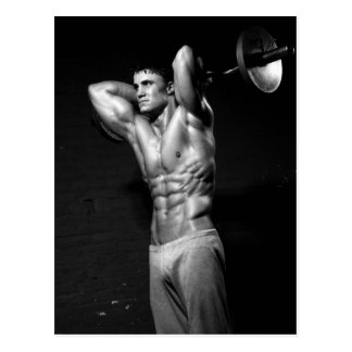 Bodybuilder-Trainings-Turnhallen-Wand-Postkarte Postkarte