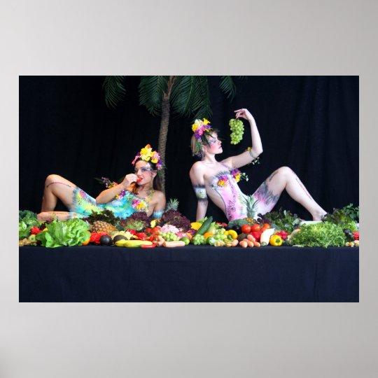 Bodypainting Lebendbuffet - bodyart living buffet Poster