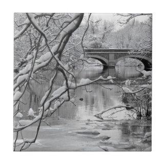 Bogen-Brücke über gefrorenem Fluss im Winter Keramikfliese
