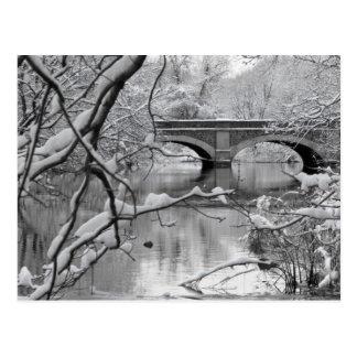 Bogen-Brücke über gefrorenem Fluss im Winter Postkarte
