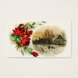 Bogen der Rosen mit viktorianischer Vignette Visitenkarte