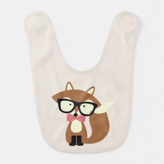 Bogen-Krawatten-und Glas-Hipster-BrownFox Babylätzchen