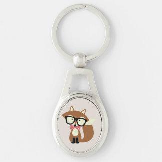 Bogen-Krawatten-und Glas-Hipster-BrownFox Silberfarbener Oval Schlüsselanhänger