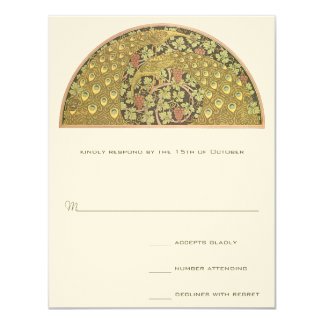 Bogen-Kunst Nouveau Weinberg-Pfau-Wartekarte Karte