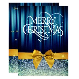 Bogen-laden Glittery Weihnachtsabendessen ein Karte