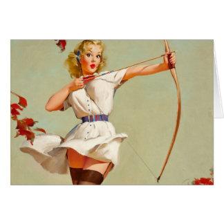 Bogenschießen-Pin-up-Girl Karte