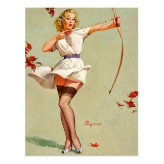 Bogenschießen-Pin-up-Girl Postkarte