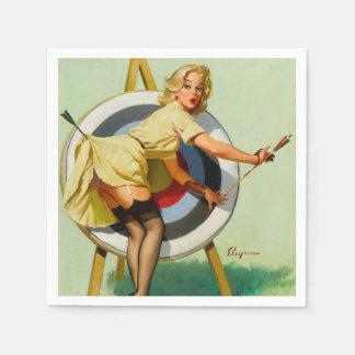 Bogenschießen-Pin-up-Girl Servietten