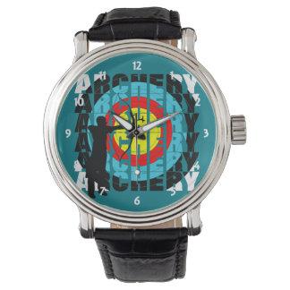 Bogenschießen-Sport-coole Typografie-Bogenschützen Uhr