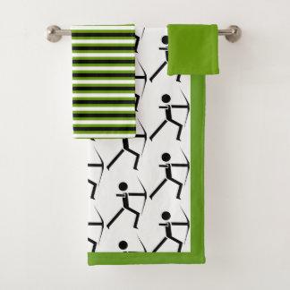 Bogenschütze mit seinen schwarzen u. grünen badhandtuch set