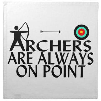 Bogenschützen sind immer im Punkt Serviette
