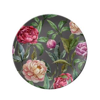 Böhmische dekorative Porzellan-mit Blumenplatte Teller