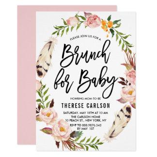 Böhmische Feder-BlumenKranz-Babyparty-Brunch 12,7 X 17,8 Cm Einladungskarte