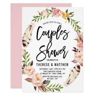 Böhmische Federn u. BlumenKranz-Paar-Dusche 12,7 X 17,8 Cm Einladungskarte