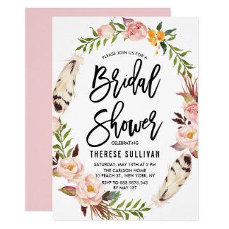 Böhmische Federn u. Blumenwreath-Brautparty 12,7 X 17,8 Cm Einladungskarte