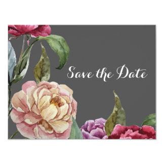 Böhmische graue u. lila BlumenSave the Date Karten 10,8 X 14 Cm Einladungskarte