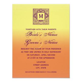 Böhmische inspirierte Monogramm-Hochzeit laden ein 10,8 X 14 Cm Einladungskarte
