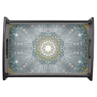 Böhmische Kristallrhinestone Silber-Blau-Mandala Tablett