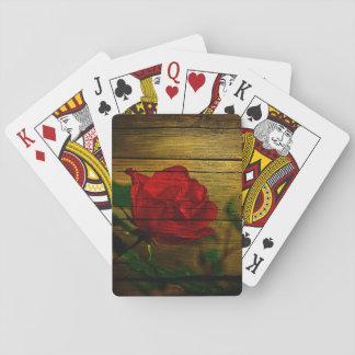 Böhmische Rote Rose der Tag Scheune Woodgrain Spielkarten