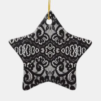 böhmische schwarze Spitze des girly Shabby Chic Keramik Stern-Ornament