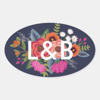 Böhmischer Blumenstrauß - Ovaler Aufkleber