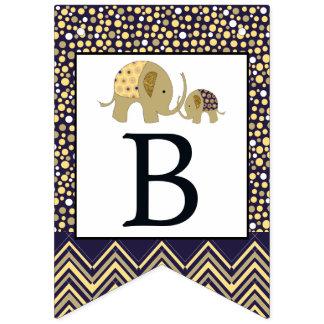 Böhmischer Elefant und Zickzack Baby-Dusche Wimpelketten