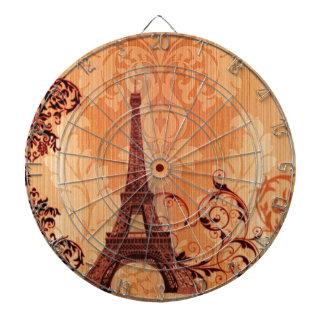 Böhmischer schicker orange Damast Paris-Eiffelturm Dartscheibe