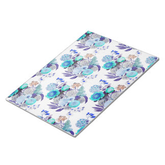 Böhmisches aquamarines blaues mit Blumenmuster Notizblock