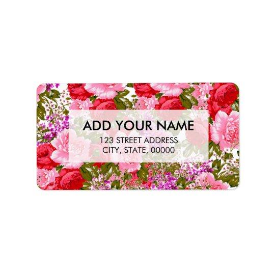 Böhmisches Blumen der Vintagen rosaroten grünen Adress Aufkleber
