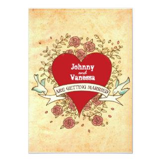 Böhmisches Herz, Rosen, Vögel u. Fahnen-Hochzeit 12,7 X 17,8 Cm Einladungskarte