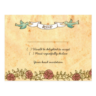 Böhmisches Herz, Rosen, Vögel u. Fahnen-Hochzeit Postkarte