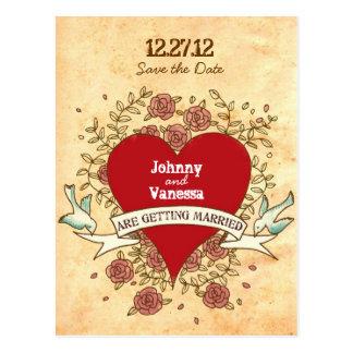 Böhmisches Herz, Rosen, Vögel u. Fahnen-Hochzeit Postkarten