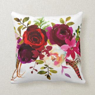 Böhmisches rotes weißes rosa Blumen Kissen