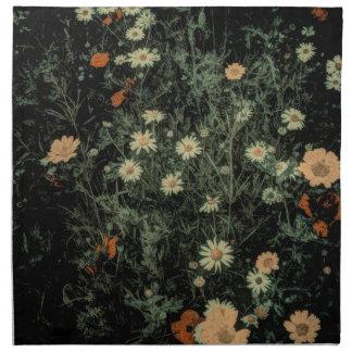 böhmisches Wildblumeschwarzes des weißen Serviette