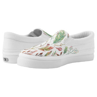 Boho-Ähnliches Blätter und Feder-modernes Slip-On Sneaker