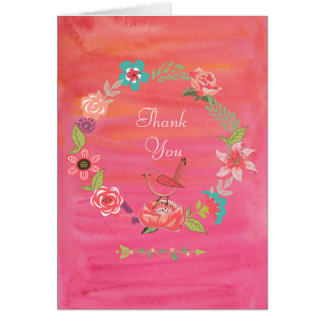 Boho Aquarell-BlumenKranz-kleiner Vogel-Dank Grußkarte
