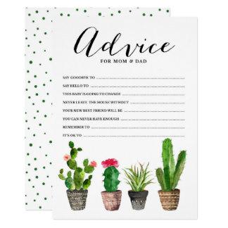 Boho Aquarellsucculents-Rat für die Eltern Karte