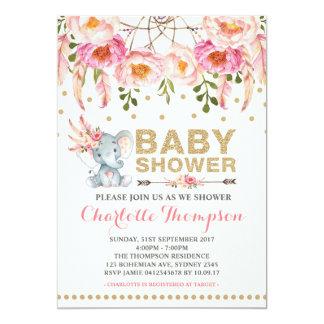 Boho Babyparty-Einladungs-Rosa-Goldelefant Karte