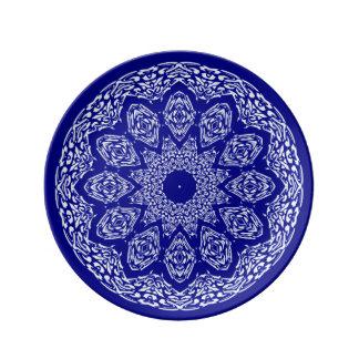 Boho Basar, Mischung u. Match-Kobalt-Muster Porzellanteller