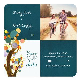 Boho Baum-aquamarines Hochzeits-Foto Save the Date Quadratische 13,3 Cm Einladungskarte