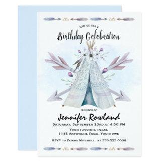 Boho blaue Aquarellteepee-Geburtstags-Einladung Karte
