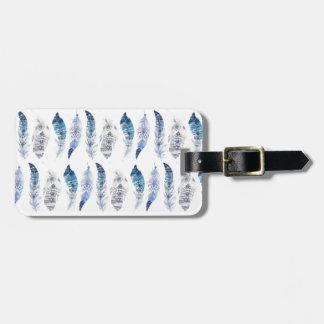 Boho blaues Aquarell versieht alle über Druck mit Gepäckanhänger