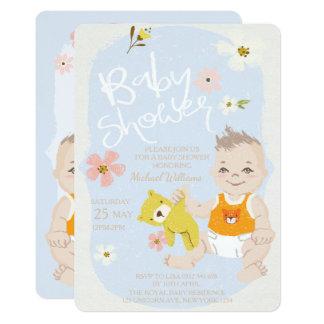 Boho Blumenjungen-Einladungs-Blau-Babyparty Karte