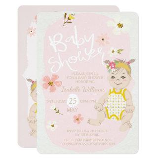 Boho Blumenmädchen-Einladungs-Rosa-Babyparty Karte