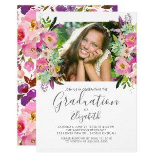 Boho Blumenrahmen-Foto-Abschluss-Einladung Karte