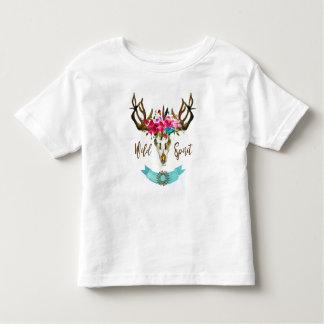Boho Blumenschädel-böhmisches Blumehippie-Geschenk Kleinkind T-shirt