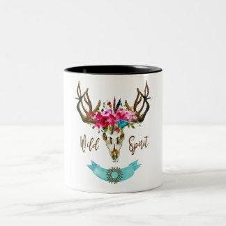 Boho Blumenschädel-böhmisches Blumehippie-Geschenk Zweifarbige Tasse